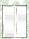 Paisley Green and Blue Perpetual Calendar set Instant Download- Printable PDF