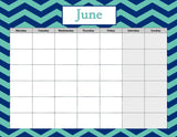 Nautical Blank Calendar set- Instant  Download- Printable JPEG