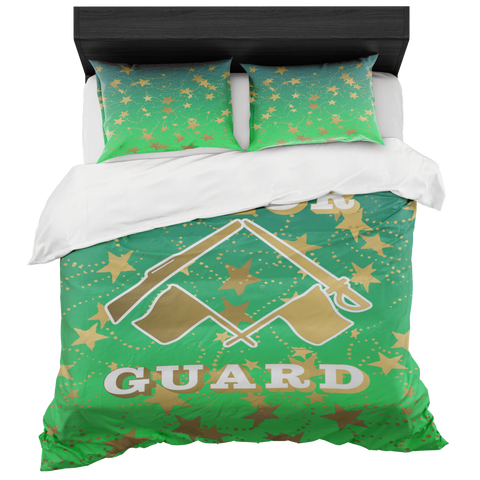 Color Guard Lime Gradient and Gold Stars Duvet- Bed-in-a-Bag Set-Includes Two Pillow Shams