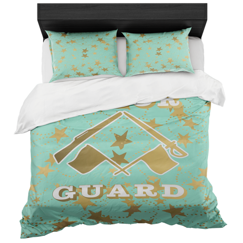 Color Guard Mint and Gold Stars Duvet- Bed-in-a-Bag Set-Includes Two Pillow Shams
