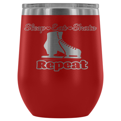 Eat Sleep Skate Repeat Wine Tumbler