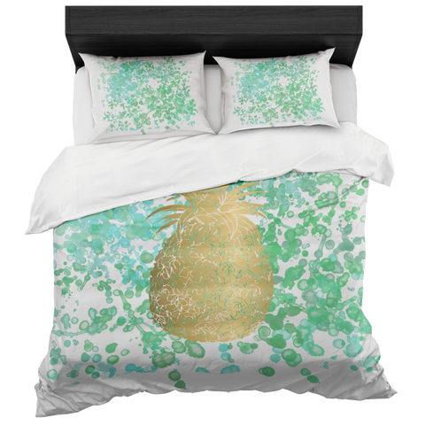 Watercolor and Gold Pineapple Duvet Bed in a Box- With Two pillowcases