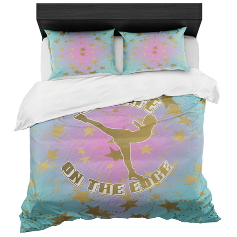 Figure Skating Live Life on the Edge-Magenta to Blue Gradient style 2 and Gold Stars Duvet- Bed-in-a-Bag Set-Includes Two Pillow Shams
