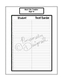 Happy Planner Teacher Beginning of the Year Sign In Template Pages