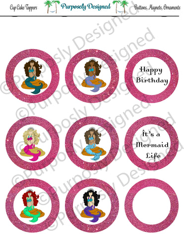 Mermaid Birthday Collection-Pink- Printable Party Tags - Cupcake Toppers - Printable Party Favors
