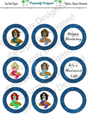 Mermaid Birthday Collection-Blue- Printable Party Tags - Cupcake Toppers - Printable Party Favors