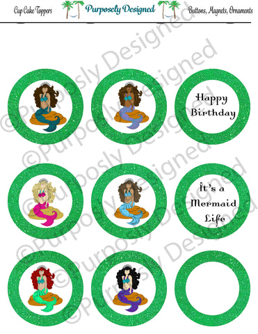 Mermaid Birthday Collection-Lime- Printable Party Tags - Cupcake Toppers - Printable Party Favors