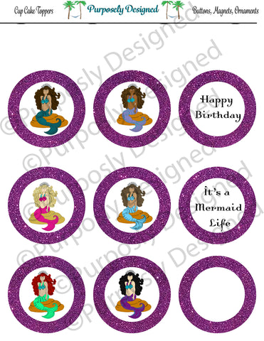 Mermaid Birthday Collection-Purple- Printable Party Tags - Cupcake Toppers - Printable Party Favors