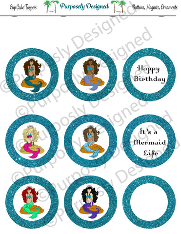 Mermaid Birthday Collection-Glitter- Printable Party Tags - Cupcake Toppers - Printable Party Favors