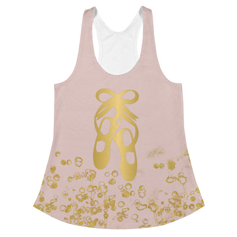 Ballet Shoes in Pink and Gold Flake Women's Racerback Tank