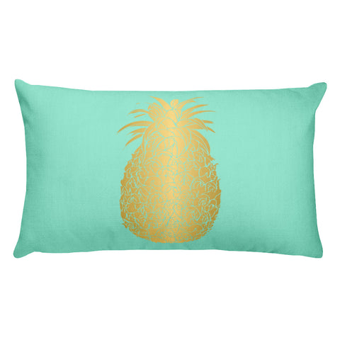 Mint and Gold Pineapple Rectangular Throw Pillow-Style 2