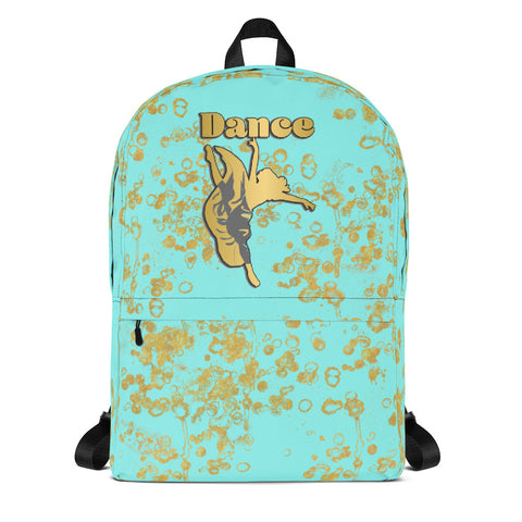 Dance Backpack in Aqua and Gold Flake- Perfect for teams and groups