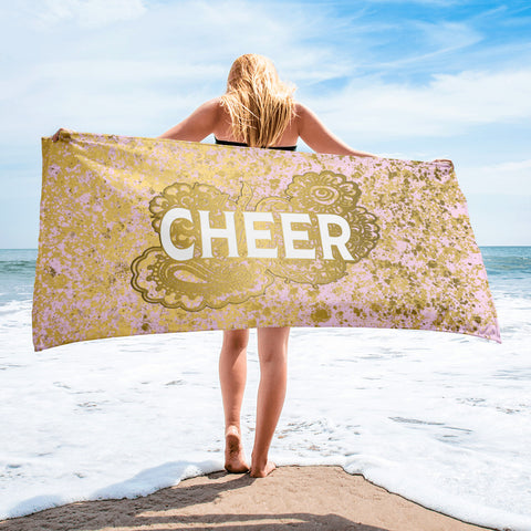 Cheer Doodle- Pink and Gold Design Beach Towel