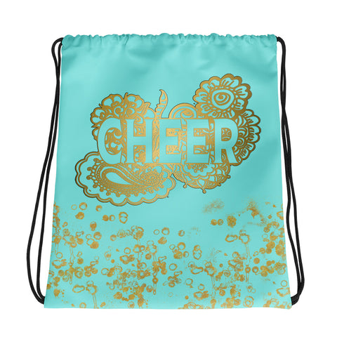 Cheer Doodle Backpack/Cinch Sak in Aqua and Gold Flakes- Perfect for Cheer Teams