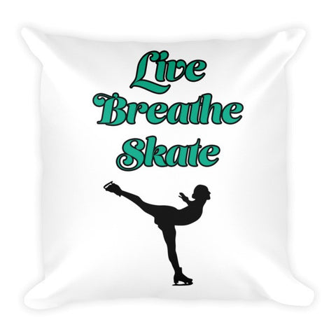 Large Decorative Pillow- Live Breath Skate with Silhouette