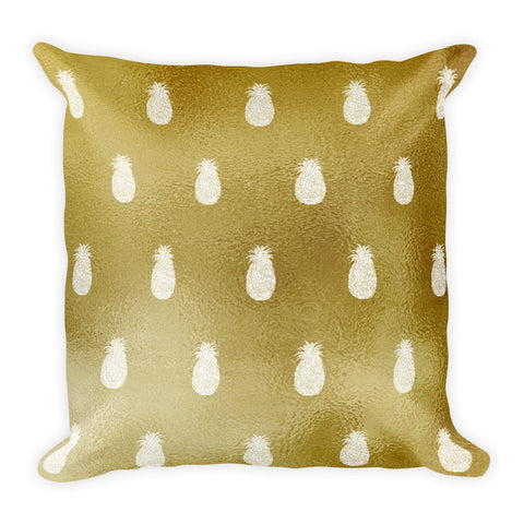 Gold and White Pineapples Square Pillow