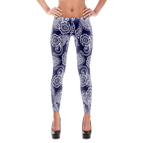 Navy and White Paisley Women's Leggings