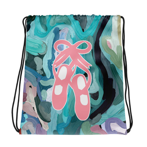 Ballet Shoes Abstract Painting Design -All-Over Print Drawstring Bag