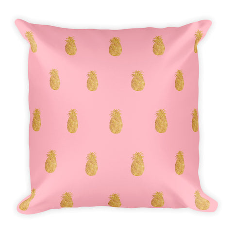 Millennial  Pink and Gold Pineapples  Square Pillow Style 4