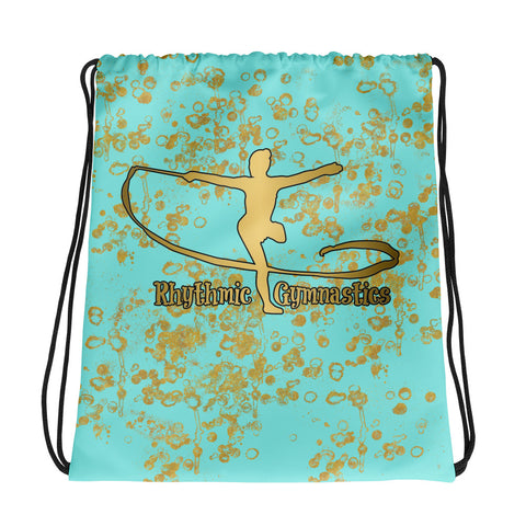 Rhythmic Gymnastics Backpack/ Cinch Sak in Aqua and Gold- Perfect for groups and teams