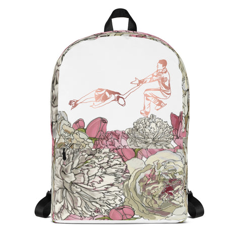 Figure Skating Pairs/Dance Backpack Rose Gold and Peonies Design