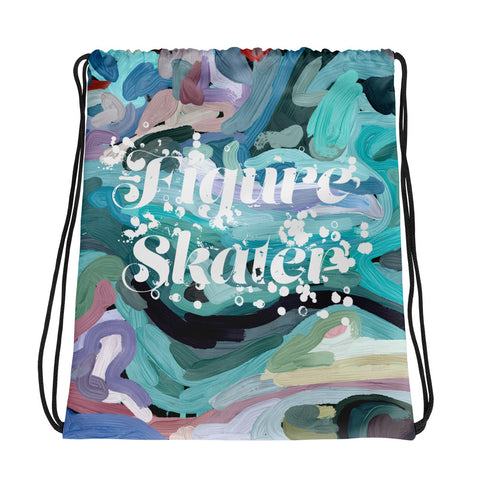 Figure Skater on Abstract Painting Design All-Over Print Drawstring Bag