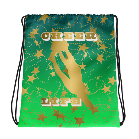 Cheer Life Silhouette in Gold with Gold Stars- Style 5 -Cinch Sak