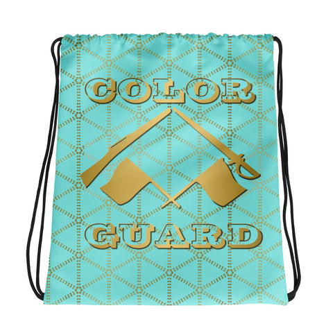Color Guard Aqua and Gold Grid- Cinch Sak- Perfect bag for teams