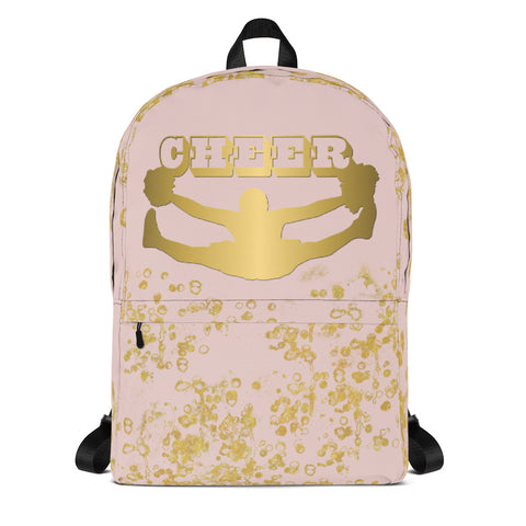 Cheer Backpack in Pink and Gold Flake-Great for Teams or Squads