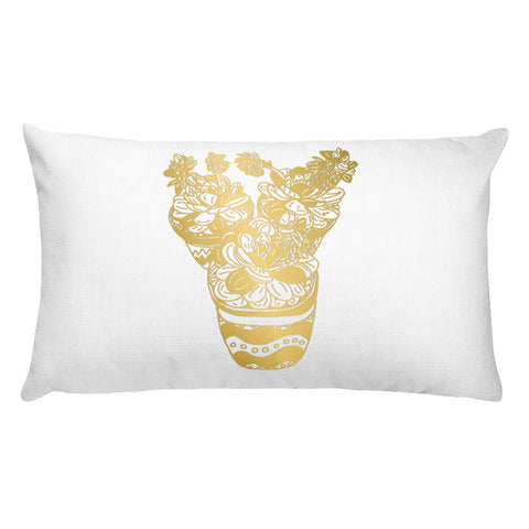 Trio of Succulents in Gold and Mint- Rectangular Pillow