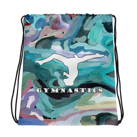 Gymnastics White Silhouette on Abstract Design- All-Over Print Drawstring Bag