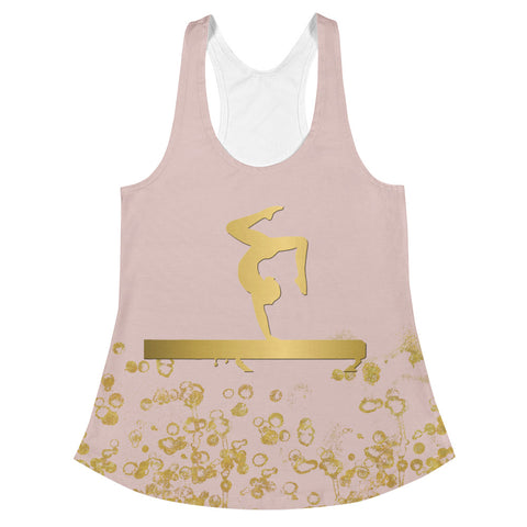 Gymnastics Beam  Design in Pink and Gold Women's Racerback Tank
