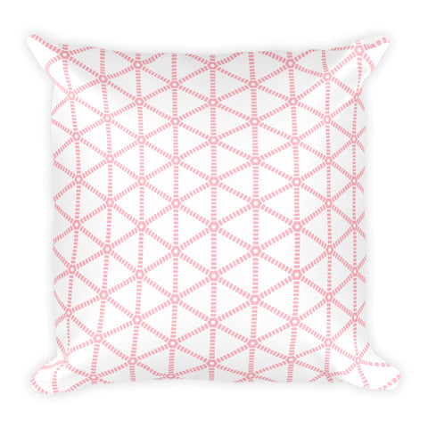 Millennial Pink Grid Square Pillow