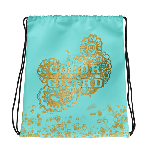Color Guard Backpack/Cinch Sak in Aqua and Gold Flake-Great for Groups