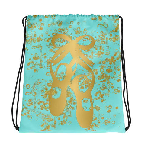 Ballet Shoes in Gold with Aqua and Gold Flakes-Cinch Sak- Great for groups and teams