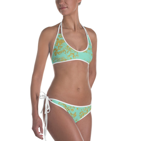 Women's Mint and Gold Flake Bikini Swimsuit