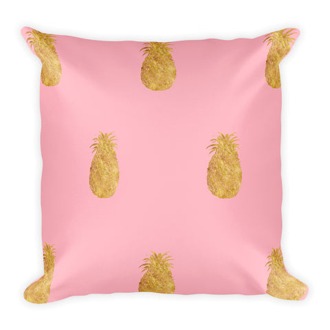 Millennial  Pink and Gold Pineapples  Style 2 Square Pillow