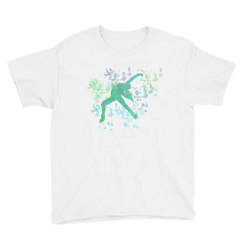 Figure Skating Water Colored Inspired Youth Short Sleeve T-Shirt