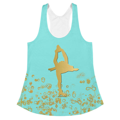 Figure Skating Women's Racerback Tank in Aqua and Gold Flake