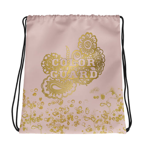 Color Guard Doodle in Pink and Gold Flake Cinch Bag- Great for Teams and Squads
