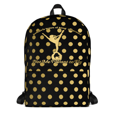I Want to Fly Black and Gold Design Backpack