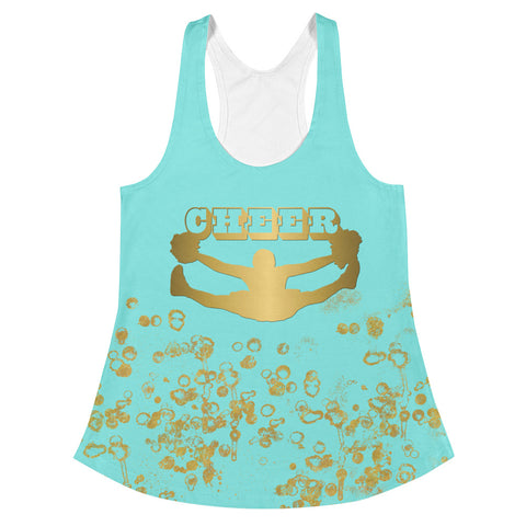 Cheer Women's Racerback Tank in Aqua and Gold Flake