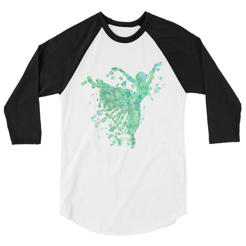 Ballet Dancer Water Color Inspired Silhouette 3/4 Sleeve  Shirt-Style 2