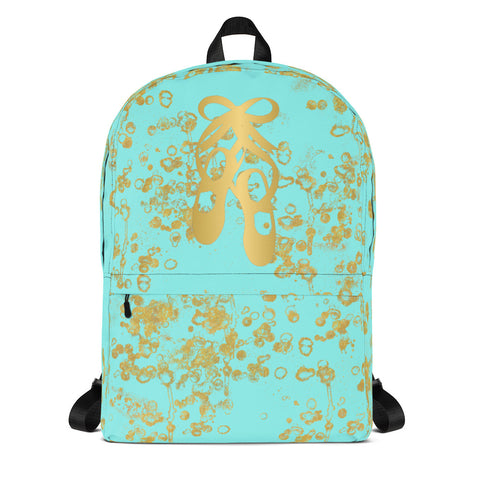 Ballet Shoes in Aqua and Gold Flake- Backpack- Perfect for teams and groups