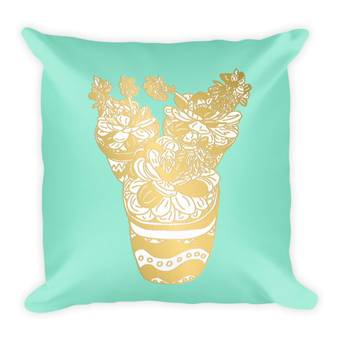 Trio of Succulents in Gold and Mint -Square Pillow