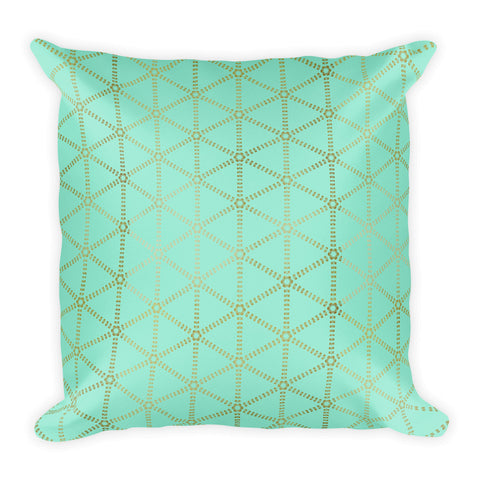 Mint and Gold Grid Square Pillow