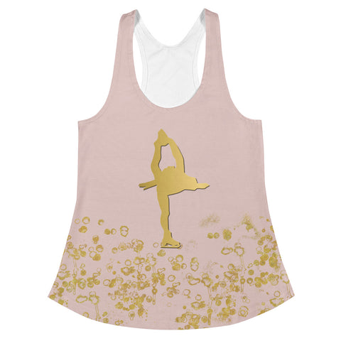 Figure Skating Pink and Gold Flake Women's Racerback Tank Top-Style 4