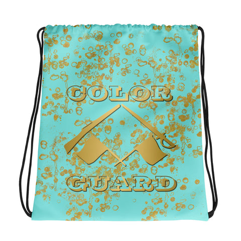 Color Guard Cinch Sak-Style 2 in Aqua and Gold Flake-Great for Groups