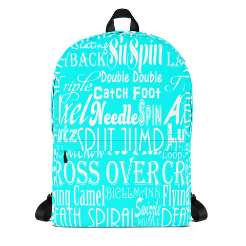 Figure Skating Subway Design Backpack in Turquoise