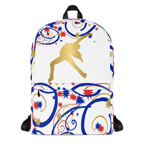 Figure Skater Silhouette in Swirls and Stars Red, White, and Blue- Backpack-Makes Great Team/Club Bag